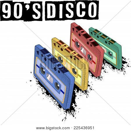 Old-fashioned Tape Audio Cassette, Symbol Of Retro Music. Analog Media For Recording And Listening T