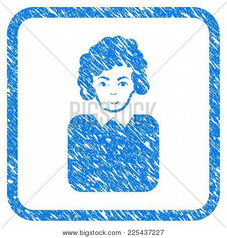 Bureaucrat Lady Rubber Seal Stamp Imitation. Icon Vector Symbol With Grunge Design And Dust Texture