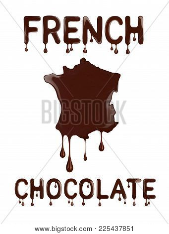 French Chocolate. Conceptual Outline Of France Made With Chocolate. 3d Illustration