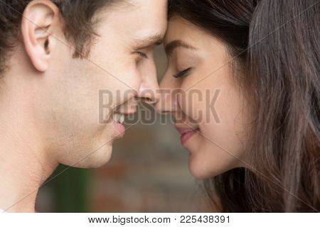 Romantic Happy Couple Face To Face Close Up Portrait, Smiling Man And Woman In Love Getting Closer F