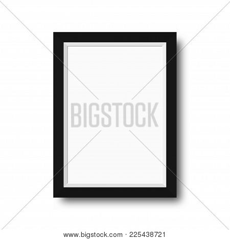 Photo Frame With Black Borders. Wooden Photo Frame With Blank Space For Motivational Text, Quotes, P