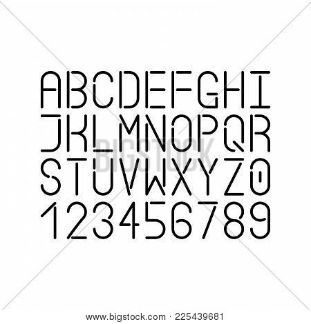 Modern Single Line Font. Vector Uppercase Letters And Numbers. Infographic And Futuristic Design.