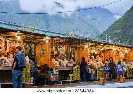 Banos, Ecuador - December 25th, 2017: Local Food, Arts And Crafts Market In Banos, Ecuador, South Am