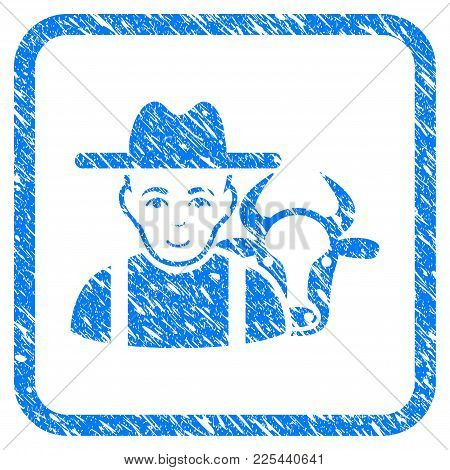 Cattle Farmer Rubber Seal Stamp Watermark. Icon Vector Symbol With Grunge Design And Unclean Texture