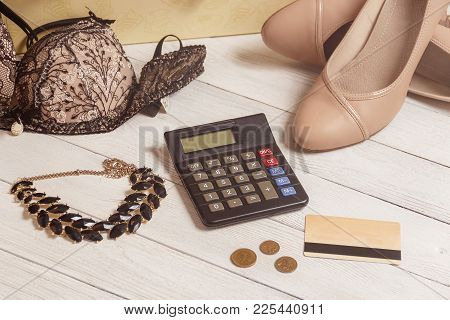 Consumerism And Sale Concept - Calculator, Women Clothing, Accessories