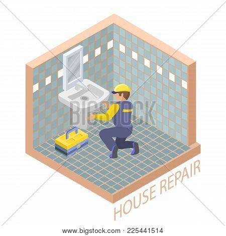 Isometric Interior Repairs Concept. Plumber Is Installing Washbasin In A Bathroom With A Blue Tile.