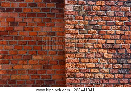 Red Brick Wall. The Example Of Brickwork As Exterior Wall Facing.