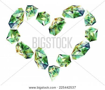 Romantic Heart With Watercolor Painted Gems - Emerald Diamond Crystals. Hand Painted Decorative Elem