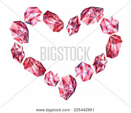 Romantic Heart With Watercolor Painted Gems - Ruby Diamond Crystals. Hand Painted Decorative Element