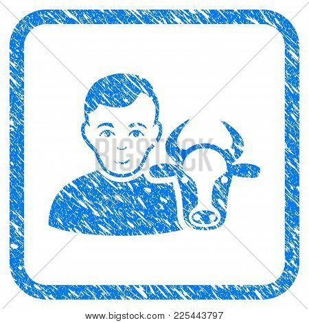 Cow Farmer Rubber Seal Stamp Imitation. Icon Vector Symbol With Grunge Design And Dirty Texture In R