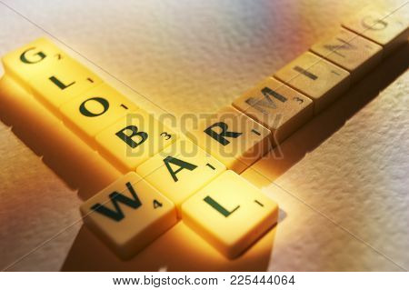 Cleckheaton, West Yorkshire, Uk: Scrabble Board Game Letters Spelling The Words Global Warming, 1st