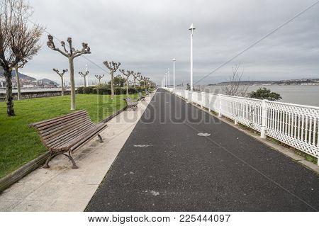 Promenade, Dock,muelle Churruca In Las Arenas.getxo,basque Country,spain.
