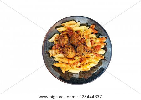 tasty penne with Meat ball and tomato sauce