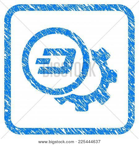 Dash Configuration Gear Rubber Seal Stamp Watermark. Icon Vector Symbol With Grunge Design And Uncle