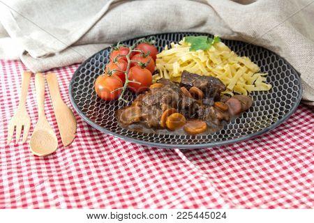Home made Beef Bourguignon with Tagliatelle