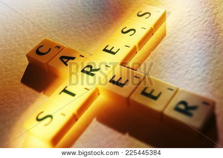 Cleckheaton, West Yorkshire, Uk: Scrabble Board Game Letters Spelling The Words Career Stress, 1st J