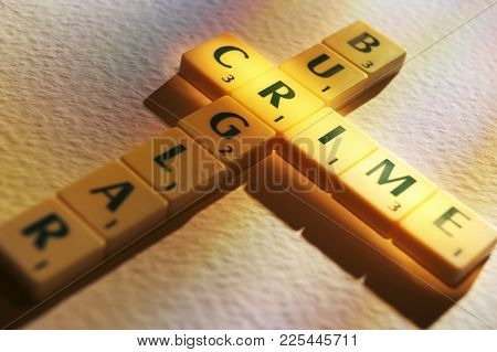 Cleckheaton, West Yorkshire, Uk: Scrabble Board Game Letters Spelling The Words Burglary Crime, 1st