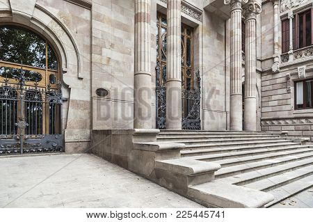 Barcelona,spain-july 23,2017:classic Building Entrance, Palace Justice,palau Justicia, By Enric Sagn