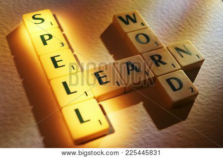 Cleckheaton, West Yorkshire, Uk: Scrabble Board Game Letters Spelling The Words Spell Learn Word, 1s