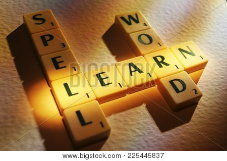 Cleckheaton, West Yorkshire, Uk: Scrabble Board Game Letters Spelling The Words Spell Word Learn, 1s