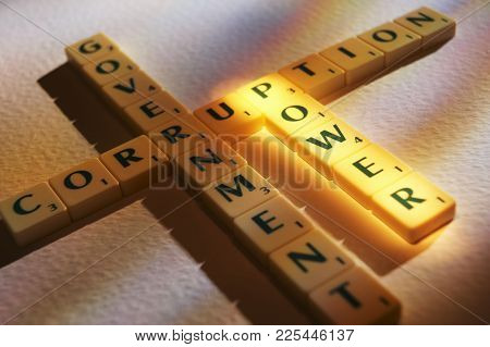 Cleckheaton, West Yorkshire, Uk: Scrabble Board Game Letters Spelling The Words Corruption Governmen