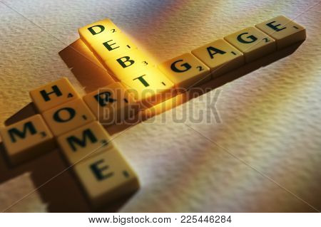 Cleckheaton, West Yorkshire, Uk: Scrabble Board Game Letters Spelling The Words Home Mortgage Debt,