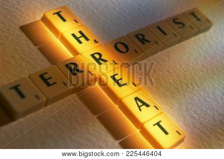 Cleckheaton, West Yorkshire, Uk: Scrabble Board Game Letters Spelling The Words Threat Terrorist, 1s