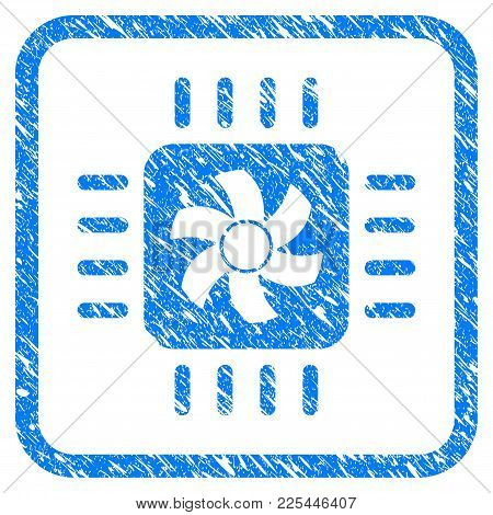 Cpu Cooler Rubber Seal Stamp Imitation. Icon Vector Symbol With Grunge Design And Dirty Texture Insi