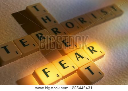 Cleckheaton, West Yorkshire, Uk: Scrabble Board Game Letters Spelling The Words Threat Terrorist Fea