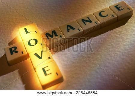 Cleckheaton, West Yorkshire, Uk: Scrabble Board Game Letters Spelling The Words Love Romance, 1st Ju