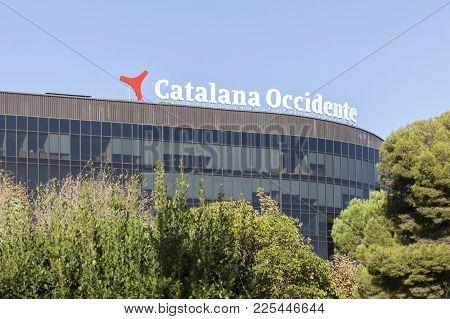 Barcelona,spain-october 8,2017:office Building Sign Catalana De Occidente Business In Diagonal Avenu