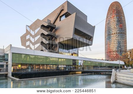 Barcelona,spain-november 27,2017:modern Architecture, Building Disseny Hub Barcelona By Mbm Arquitec