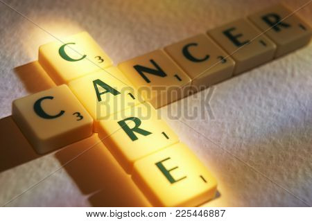Cleckheaton, West Yorkshire, Uk: Scrabble Board Game Letters Spelling The Words Cancer Care, 1st Jun