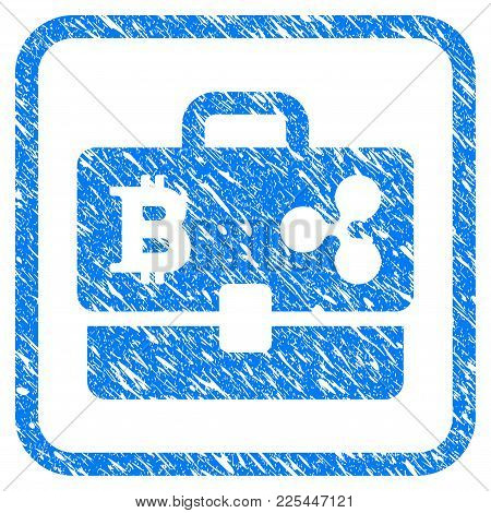 Cryptocurrency Portfolio Rubber Seal Stamp Imitation. Icon Vector Symbol With Grunge Design And Dirt