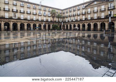 Bilbao,spain-january 11,2017:new Square, Plaza Nueva Or Plaza Barria, Monumental Square, Neoclassica