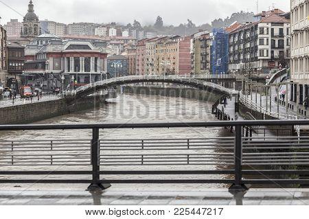 Bilbao,spain-january 11,2017:city View, Bridges Over Nervion River, Bilbao.
