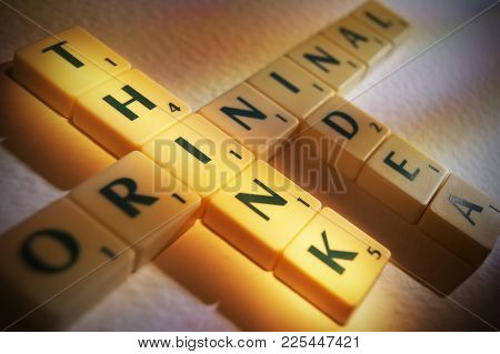 Cleckheaton, West Yorkshire, Uk: Scrabble Board Game Letters Spelling The Words Original Think Idea,