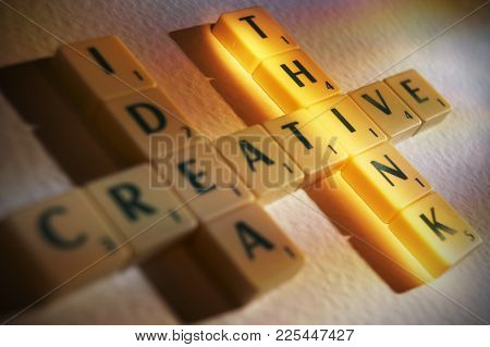Cleckheaton, West Yorkshire, Uk: Scrabble Board Game Letters Spelling The Words Creative Idea Think,
