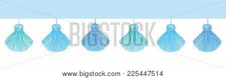Vector Fun Blue Decorative Tassels Set Horizontal Seamless Repeat Border Pattern. Great For Handmade