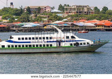 Labuan,malaysia-feb 2,2018:express Ferry Carries Passengers From Labuan Island To Kota Kinabalu.its