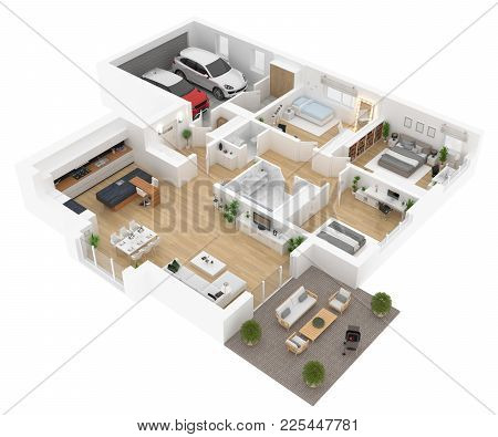 Floor Plan Top View. House Interior Isolated On White Background. 3d Render