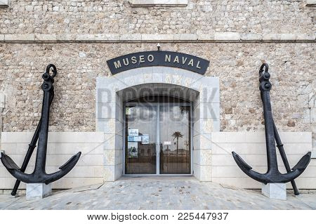Cartagena,spain-september 22,2017:door Entrance Naval Museum And Two Big Anchors In Cartagena,spain.