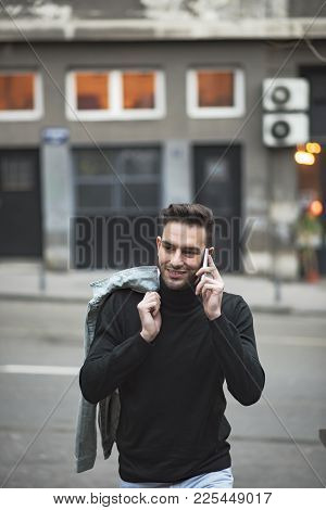 Handsome Man Cell Phone Call Smile Outdoor City Street, Young Attractive Businessman Casual Blue Shi