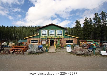 Jade City, Canada - August 23, 2017: Jade City Is A Very Small Town Located On The Stewart-cassiar H