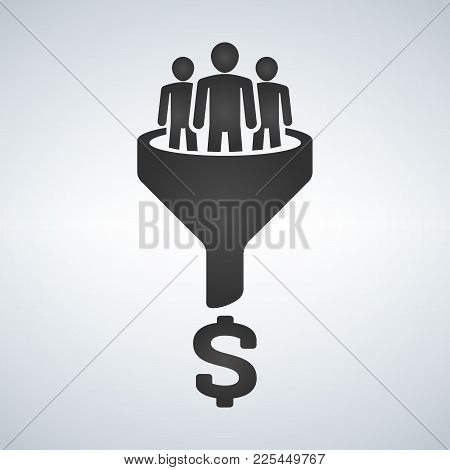 Sales Funnel Vector Line Icon. Internet Marketing Conversion Concept. Producing Money