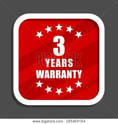 Warranty guarantee 3 year icon. Flat design square internet banner.