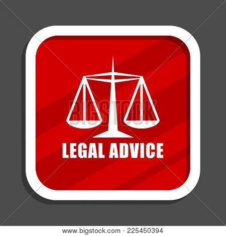 Legal advice icon. Flat design square internet banner.