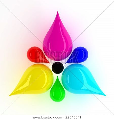 CMYK and RGB Flower. Include Clipping Path