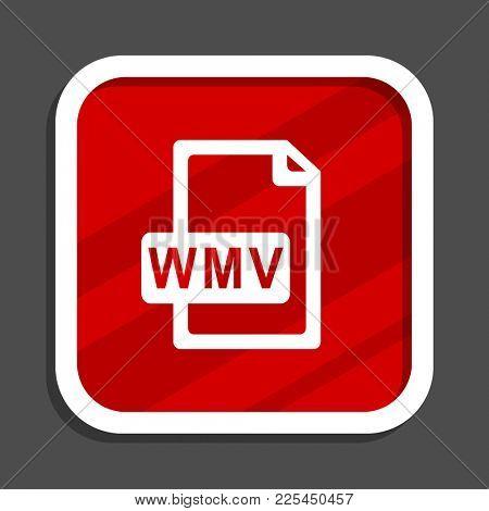 Wmv file icon. Flat design square internet banner.