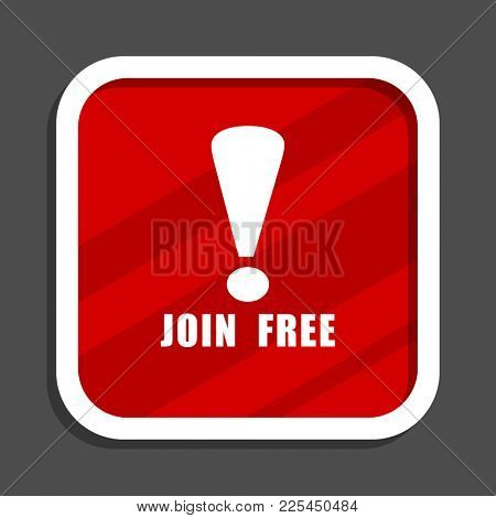 Join free icon. Flat design square internet banner.